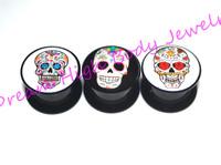 Sugar Skull Plugs Acrylic Ear Gauge Ear Plugs Flesh Tunnels Screw Expander Hollow Stash Popular Body Piercing Jewelry New Style