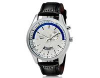 Free Shipping VaLia 8252 Fashionable Men's Analog Watch with Date Display & Faux Leather Strap (White) M.