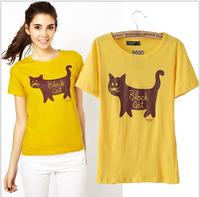Fashion Letter Cats Printing T-shirt O-Neck Short sleeve Tops Ms T shirt  Free shipping FZ398