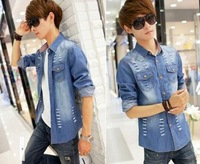 Free shipping Metersbon Spring men's clothing Denim jacket vintga korean Cowboy Clothing coat 901