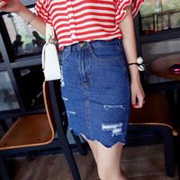 2014 Summer New Arrival  Fashion Hole Denim Skirt Europe Street Style Women's Short Denim Skirt Free Shipping q7212