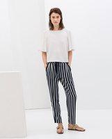 free shipping 2014 new Z brand women's OL pants stripe loose fit straight fashion long pants WLP14001 black, navy stripe S-L
