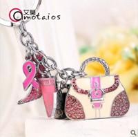 AJ78 Pink handbags gift USB flash drives Crystal Jewelry pen drive memory Stick pendrive Keychain 4GB 8GB 16GB 32GB