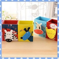 [Amy] free shipping 5pcs/lot Cartoon cute wooden multi-functional photo holder receives brush pot high quality on Amy shop