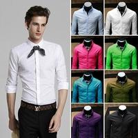 2014 new Autumn Men's square collar temperament Dress long Sleeve Shirts Men dress shirts Business gentleman M-XXL,6356