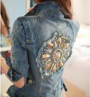 2014 Spring New Korean Jacket For Women Female Short Paragraph Jacket Denim Jacket Women Coat Rivet Jean Jacket Free Shipping