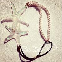 2014 new Wholesale fashion handmade pearl chain with seastar elastic hairbands hairclips headband beach style hair accessories