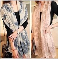 Promotion! 2014 Hot Sale Voile Blue and White Porcelain Pattern Women Scarf Fashion Chiffon Long Shawl 160cm*70cm Free Shipping