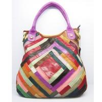 Wholesale 2014 new Sheepskin genuine leather handbag,Colorful Sheepskin splicing bags One shoulder his handbag Female bag