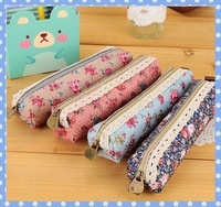 [Amy] free shipping 5pcs/lot Forest wind elegant beautiful contracted canvas wave flower pen bag high quality on Amy shop