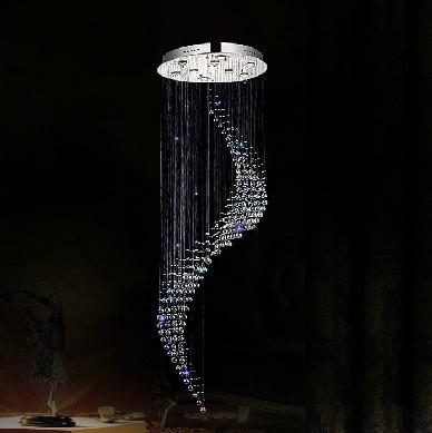 Grátis frete new modern spiral design moderno iluminação lustre de cristal led Dia60 * H260cm longo de cristal lâmpada da escada(China (Mainland))
