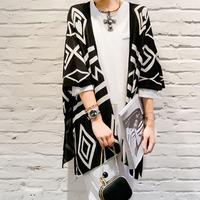 Spring and Autumn Slim thin coat sweater cardigan sweater shawl geometry