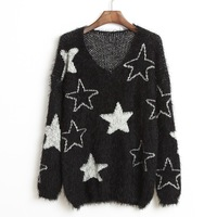 2014 Winter new casual street wild round neck pullover sweater home black and white five-pointed star