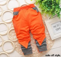 2014 baby boys loose pants orange blue gray 3colours for baby winter wear cotton pants