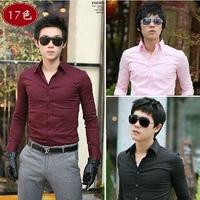 2014 new Autumn Men's Candy colors temperament Dress long Sleeve Shirts Men dress shirts Business gentleman M-XXXL,6356