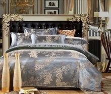 Silk/Cotton Satin jacquard bedding set 4 Pcs,four bed set(China (Mainland))