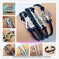 2014 Multilayer Braided Bracelets , Vintage Owl Harry Potter wings infinity bracelet, Multicolor woven leather bracelet & Bangle