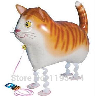10pcs/Lot, Free Shipping, Wholesale,Cat Pet Walking Animals Balloons Hulium Mylar Balloons, Baby's toy, Party Decoration. .(China (Mainland))