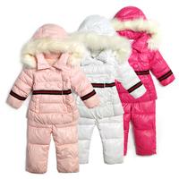 Export high-quality 2014 NEW Winter fashion children's ski suit set baby girls warm stripe ribbon belt Outdoor sportswear suit