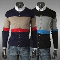 2014 autumn long-sleeve sweater high-grade V collar Men's Cardigan Knitwear Double Breasted Slim Casual Sweaters Free shipping