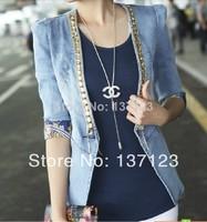 2014 Spring Blazer Slim Denim Suit Large Size Diamond Suit Wild Long-Sleeved Denim Jeans Jacket Women