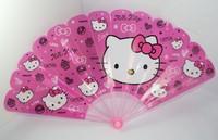 """Cute Beautiful Hello Kitty Plastic Portable Long Folding Hand Fan (L:9"""",W:17"""")"""