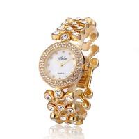 New Arrival  Stylish Crystal Women Lady Girls Party Bracelet Bangle Dress Watch Analog Quartz Gift Wrist Watches 2 Colors Select