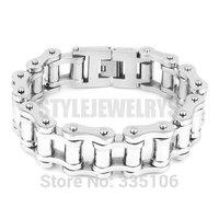 Free shipping! 23mm Silver Huge & Heavy Biker Bracelet Stainless Steel Jewelry Bicycle Chain Motor Men's Bracelet SJB0259