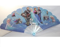 "Cute Beautiful Frozen Elsa Anna Plastic Portable Long Folding Hand Fan (L:9"",W:17"")"