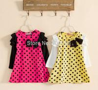 New autumn spring children clothing fashion baby girls polka dot dress long-sleeve princess dresses kids clothes