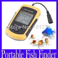 Free shipping 100m Portable Fish Finder Depth Sonar Sounder Alarm Transducer Fish finder ,MOQ=1