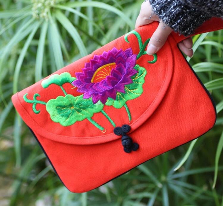Ethnic versatile women handbag vintage clutch bag sale embroidered lotus pattern ipad tablet computer retro package small bag(China (Mainland))
