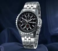 Free shippingMechanical watches men's waterproof steel watches business men imitation watches three six-pin quartz watch