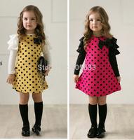 New autumn spring children clothing fashion baby girls polka dot dress long-sleeve dresses kids clothes girls princess dress