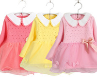 new 2014 autumn girls doll collar sweater dress gauze tutu princess dress children dress