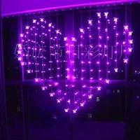 2 x 1.5m Heart Shape 128 SMD 34 Butterfly Multicolor LED String Holiday Christmas Wedding Decoracao Curtain Light EU/US/UK/AU