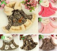1pcs Girls Leopard faux fox fur collar coat clothing with flower Autumn Winter wear Clothes baby Children outerwear dress jacket