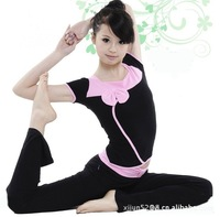 Sports clothes yoga pink bow decorate clothes set summer yoga clothing hot sell short sleeve female fitness dance 7002