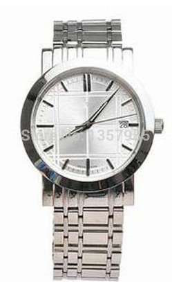 Free shipping hot sell silver color stainsteel strap mens quartz watch bu1350+original box and certificate tag(China (Mainland))