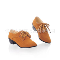 Roman Spring 2014 fashion retro frosted low-heeled leather shoes large size women size 34 ~ 43