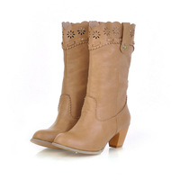 large size 2014 new high-heeled women's boots lace carved western cowboy boots  size 35 ~ 45