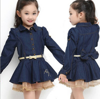 2014 Korean version of the new girls dress lapel long-sleeved lace bow cotton denim skirt children