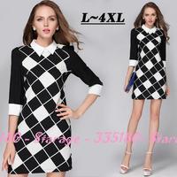 L-4XL Brand White Black Dresses Plus Size Diamond 3/4 Sleeve Print Lattice Dress  2014 New Autumn Fashion Women Clothing 1527