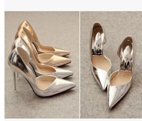free shipping,2014 sexy pointed toe thin heels women shoes pumps,lady's shoes heels,gold,silver