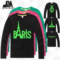 paris shirt men big sizes t shirt party t-shirt glow in the dark high quality 100% cotton long sleeve top 4xl,5XL,6XL