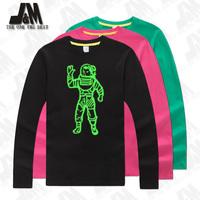 Gravity shirt spaceman men big sizes t shirt party t-shirt glow in the dark 100% cotton outer space long sleeve top 4xl,5XL,6XL
