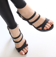 July-new 2014 hot sale women platform sandals ladies sexy fashion cut-outs buckle summer shoes free shipping white/black