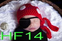 free shipping,20pcs baby hat Beanie, children's handmade crochet  Pirate hat with eye patch, newborn hat Photo props 100% cotton