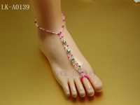 jewelry barefoot sandals rhinestone foot jewelry Fushia color  lucky online store LK-A0139