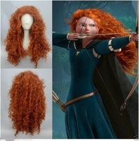 FREE SHIPPING ****New Women Forest Princess Brave Merida Costume Auburn Red Cosplay Wigs